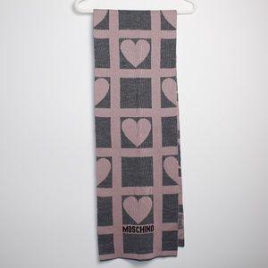 Moschino Pink & Grey Heart Scarf